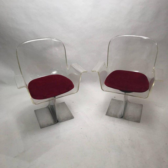 Lucite Pair of Pace Lucite & Aluminum Dining or Conference Swivel Chairs by i.m. Rosen For Sale - Image 7 of 13