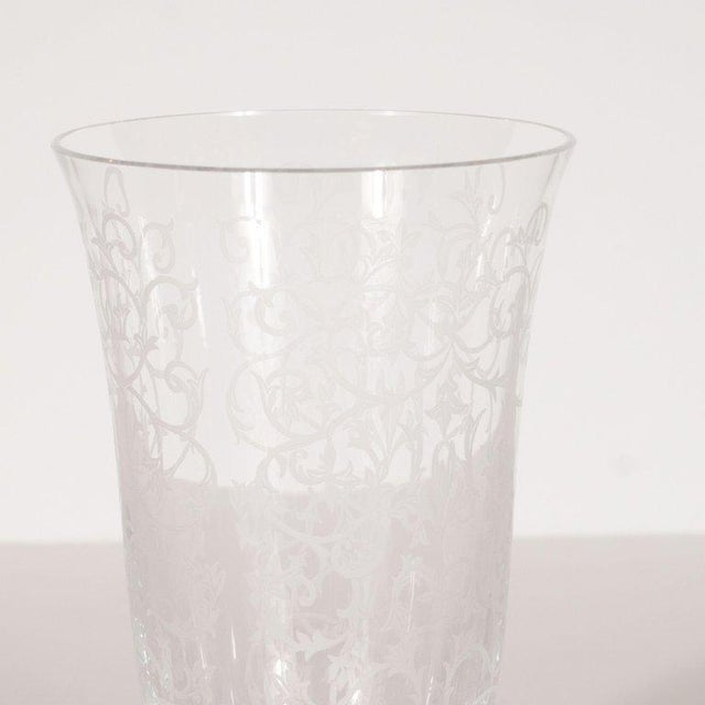 Mid-Century Modern French Mid-Century Modern Foliate Etched Crystal Vase by Baccarat For Sale - Image 3 of 9