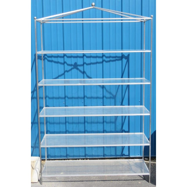 Tommi Parzinger Mid-Century Modern Chrome & Lucite Etagere For Sale - Image 4 of 8
