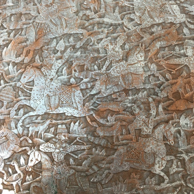 "Islamic 10.75"" Antique Persian Etched Tinned Copper Plate For Sale - Image 3 of 7"