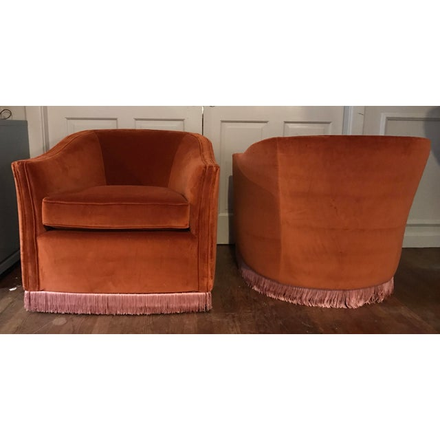 1970s Vintage Rust Color Velvet Swivels Chairs- A Pair For Sale - Image 13 of 13