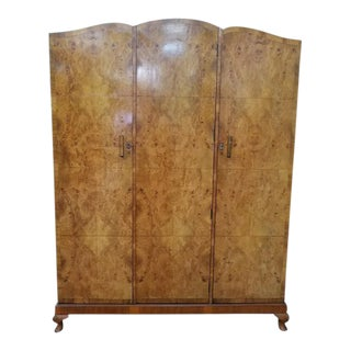 Deco 1930's Burl Walnut Triple Door Armoire