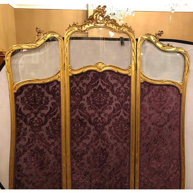 French 19th Century Louis Xv, Giltwood Three Fold Screen With Original Glass Panels For Sale - Image 3 of 13