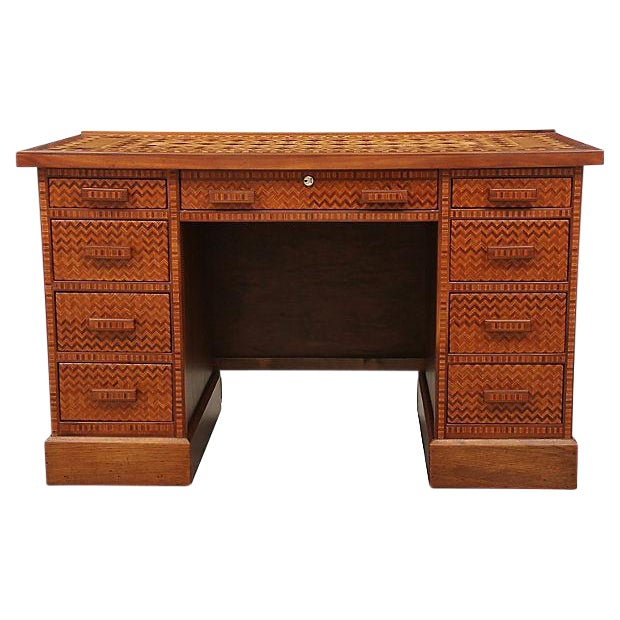 Vintage Parquetry Kneehole Desk - Image 1 of 7