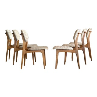 Danish Midcentury Set of Six Dining Chairs in the Style of Erik Buch