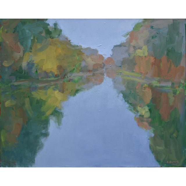 """Contemporary Landscape Painting by Stephen Remick, """"Overcast Autumn Day at the Pond"""" For Sale - Image 10 of 11"""