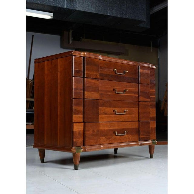 Cherry Bachelors Chest by Hickory Mfg With Brass Bullet Shaped Handles For Sale - Image 9 of 10