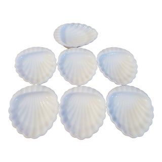 Vimtage Milk Glass Scalloped Shell Soap/Trinket Dish - Set of 7 For Sale