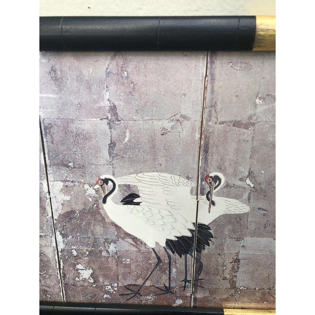 1980s Chinoiserie Style Mirror With Red Crowned Cranes For Sale - Image 5 of 6