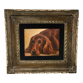 Framed Original Oil Painting of a Young Irish Setter Signed N. Carlyle