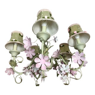 Americana Kellogg Collection Pink & Green Tole Chandelier For Sale
