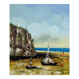 Boats on the Beach Oil Painting by H. Harder