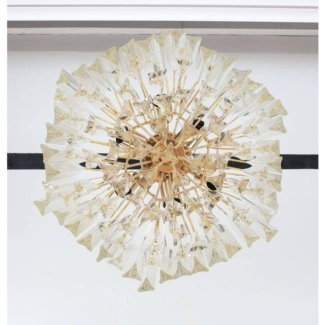 Four-Tier Chandelier with Murano Glass Triedri Prisms For Sale - Image 6 of 7