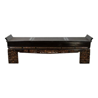 Antique Chinese Black Lacquered Bench with Hidden Storage, Rattan and Gilt Décor For Sale
