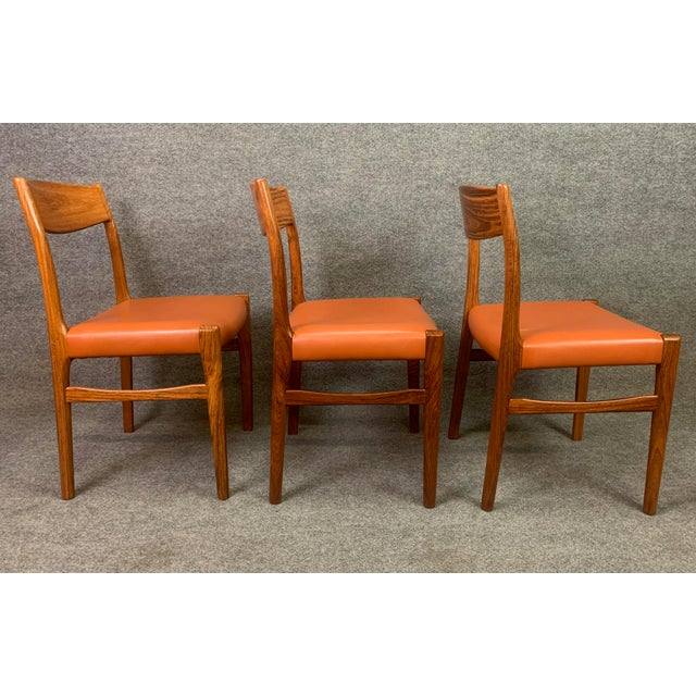 Set of Six Vintage Danish Mid Century Modern Rosewood and Leather Dining Chairs For Sale - Image 9 of 13