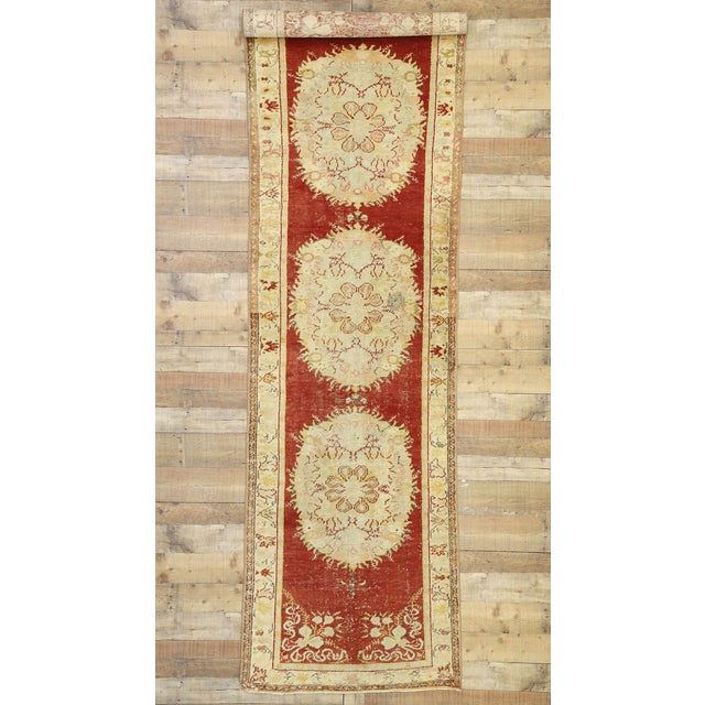 Red Vintage Turkish Oushak Runner - 03'03 X 11'05 For Sale - Image 8 of 10