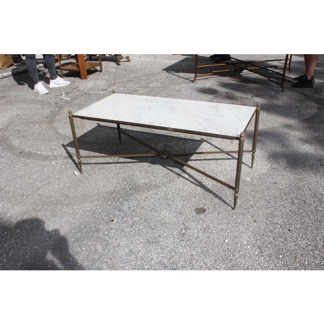 Art Deco Long Maison Jansen Coffee Or Cocktail Table Bronze Rectangular With Marble Top Circa 1940s For Sale - Image 3 of 11