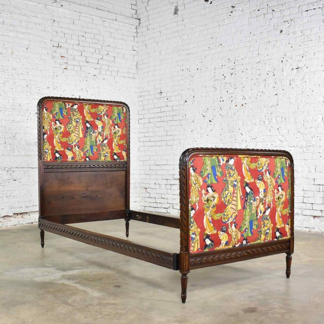 Antique French Carved Walnut and Upholstered Twin Bed With Asian Figural Fabric For Sale - Image 9 of 13