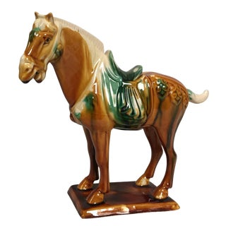 Contemporary Chinese Tang Style Ceramic Horse For Sale