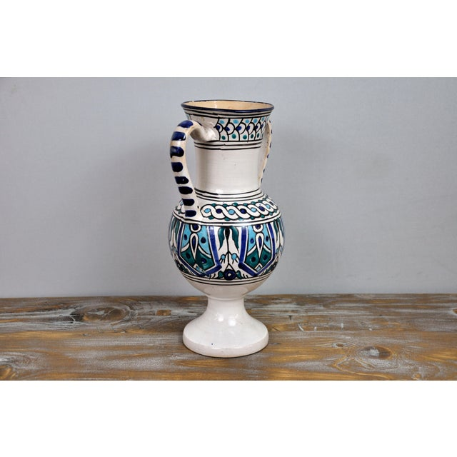 Handpainted Vintage Italian Blue and White Decorative Vase For Sale - Image 4 of 13