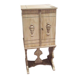 19th Century Style French Wood Humidor Box Cabinet Stand Table For Sale