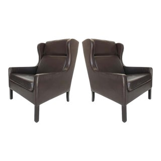 Danish Modern Wingback Chairs, Leather/Rosewood Attributed to Borge Mogensen For Sale