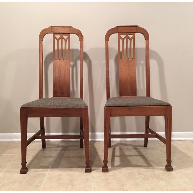 """Set of Two Mission Arts & Crafts Craftsman Chairs. Solid wood with canvas seats. Approximately 100 years old. Measure 17""""..."""