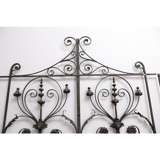 Pair of 19th Century French Forged Iron Gates, later adapted as a Headboard For Sale In Houston - Image 6 of 7