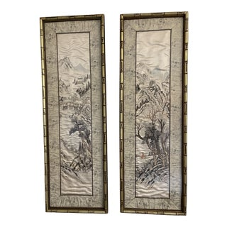 Antique Asian Embroidery Famed in Gold Faux Bamboo Frame - a Pair For Sale