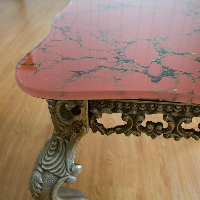 Hollywood Regency Side Tables   Red Marbled Glass Cabriole Legs For Sale - Image 6 of 11