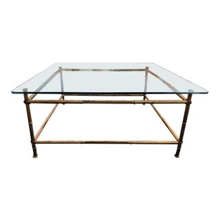 Faux Bamboo Glass and Gilt Metal Coffee Table For Sale