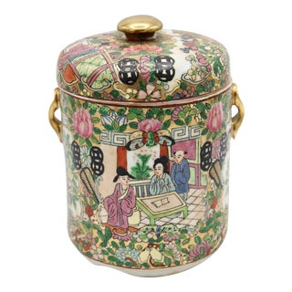 18th Century Chinese Rose Medallion Porcelain Lidded Jar For Sale