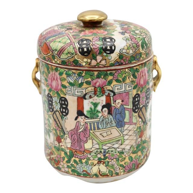 18th Century Chinese Rose Medallion Porcelain Lidded Jar For Sale