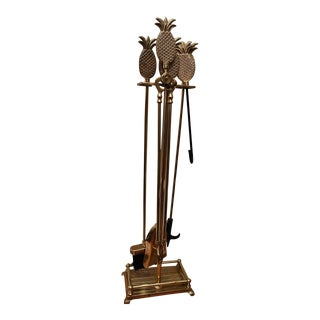 Hollywood Regency Brass Pineapple Fireplace Tool Set For Sale