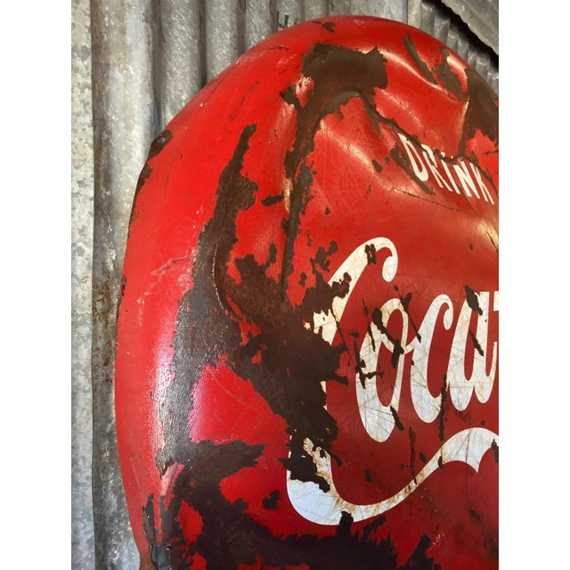 Vintage 1950s Coca-Cola Button Sign For Sale - Image 5 of 9