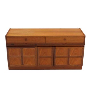 Small Danish Modern Teak Credenza with Concealed File Cabinet For Sale
