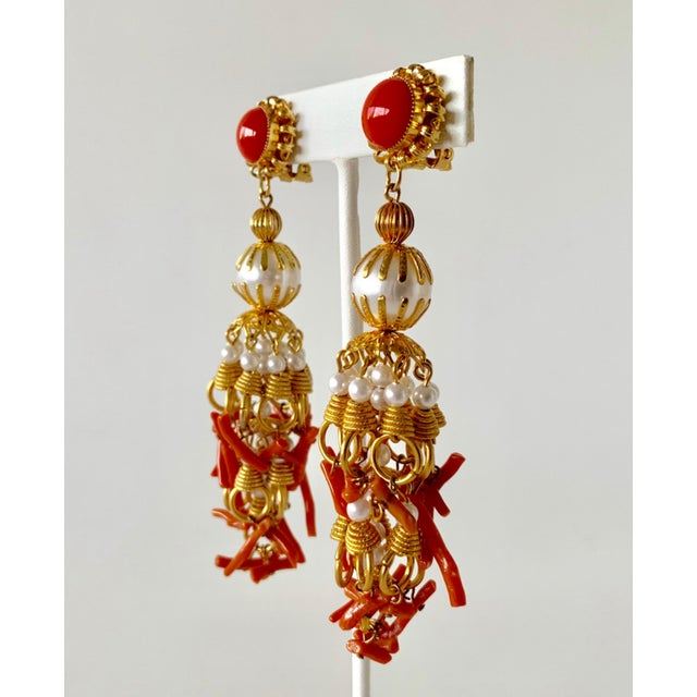 1960s Vintage Pearl and Coral Chandelier Statement Earrings For Sale - Image 5 of 13