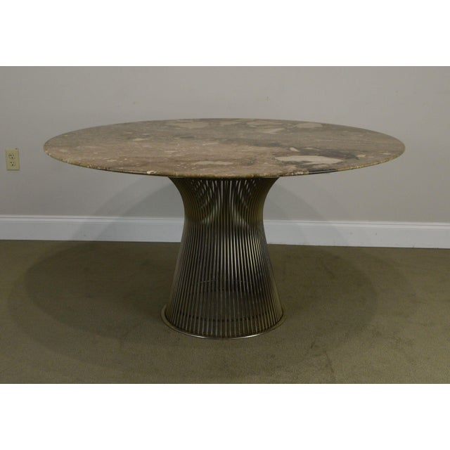 "Knoll Warren Platner for Knoll 54"" Round Marble Top Dining Table For Sale - Image 4 of 13"