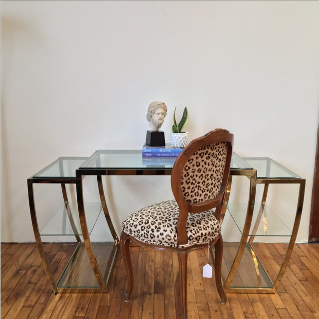 Rare Modernist Brass & Glass Desk or Console Table - Image 7 of 8