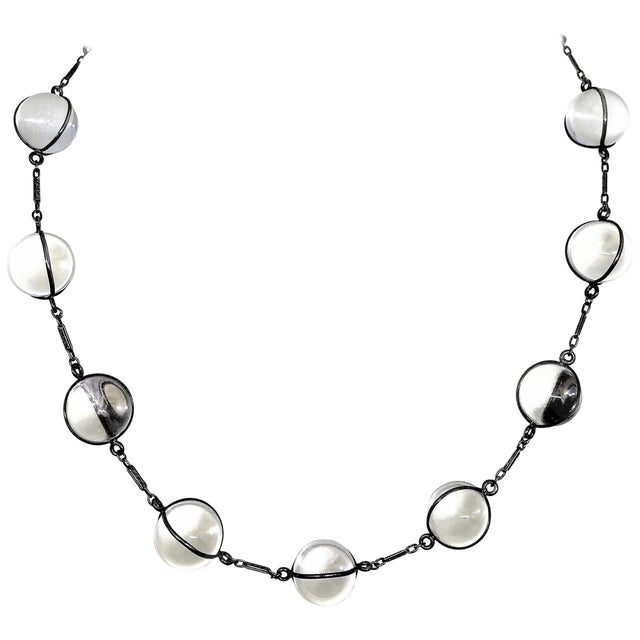 Early 1900s Pools of Light Sterling Silver and Rock Crystal Necklace For Sale - Image 9 of 9