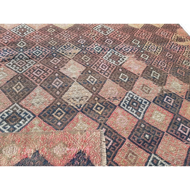 "Textile Distressed Vintage Turkish Soumac Rug 4'2"" X 6'3"" For Sale - Image 7 of 8"