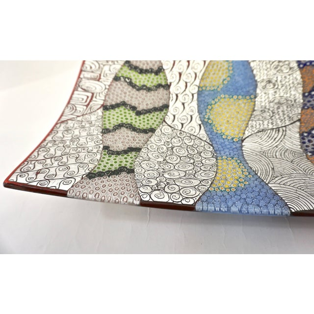 Mosaic Contemporary Italian Silver, Blue, Green Murano Glass Mosaic Centerpiece on Red For Sale - Image 7 of 12
