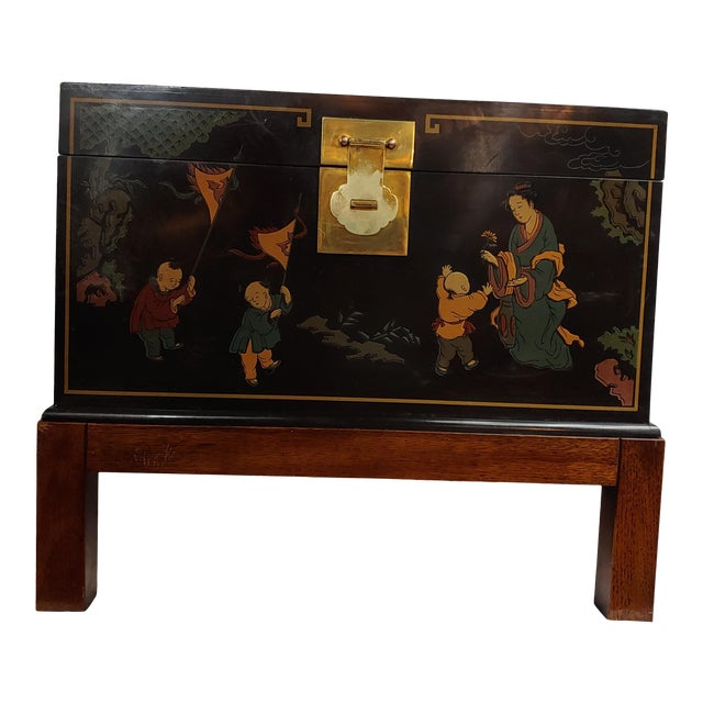 Vintage Oriental Chinoiserie Storage Chest on Stand, Hand Painted For Sale