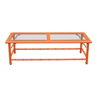 Mid-Century Orange Coffee Table With Glass Top For Sale
