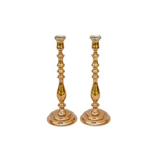 Large Bright Gold Candlesticks, a Pair For Sale