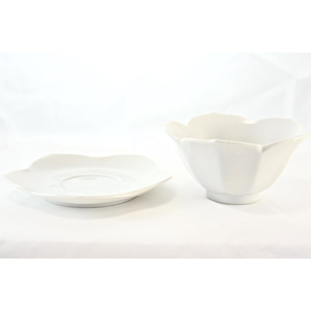 Mid 20th Century White Porcelain Lotus Bowls & Saucers - Set of 4 For Sale - Image 5 of 6