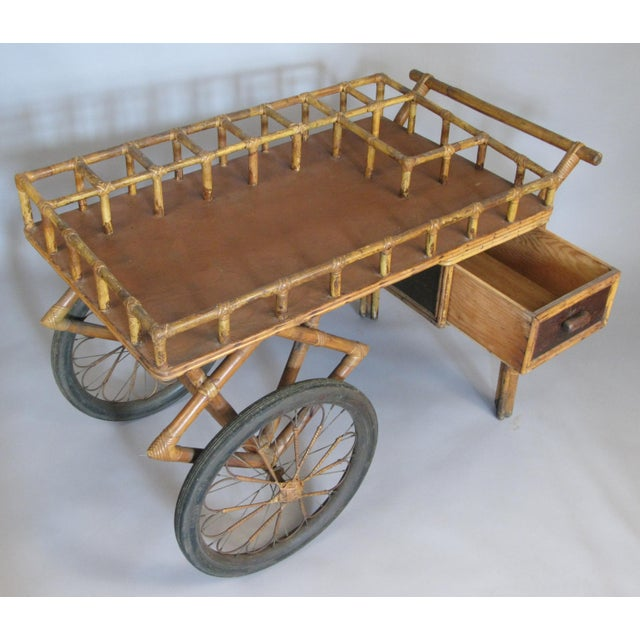 Antique 1920s Rattan and Wicker Bar Cart For Sale - Image 4 of 9