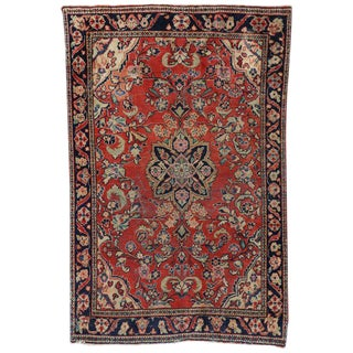 Antique Persian Mahal Rug with All-Over Floral Design
