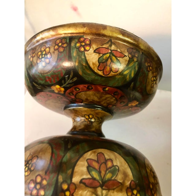 Set of two Bradburn Home Galleries hand painted large Paisley Pillar Candleholders. Retired Line. Original tags on bottom....