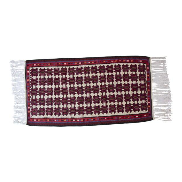 Turkish Jewel Toned Kilim Rug With Long Tassel For Sale
